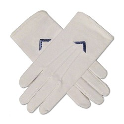 Worshipful Master's Square Masonic Embroidered Cotton Gloves - [White]