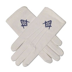 Blue Square & Compass Hand Embroidered Masonic White Gloves
