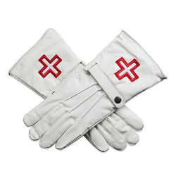 Knights Templar Cross Masonic Leather Gloves - [White]