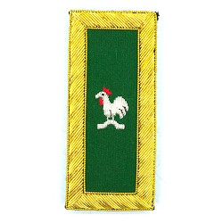 Knights Templar Captain General Rooster Embroidered Masonic Shoulder Board Pair - [Green, White & Gold][4'' Tall]