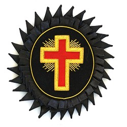 Knights Templar Cross Embroidered Masonic Patch - [Black, Gold & Red][5 1/4'' x 4 3/4'']