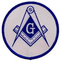 "Square & Compass Round Embroidered Masonic Patch - [White & Blue][3"" Diameter]"