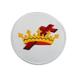 Knights Templar Cross & Crown Round Embroidered Masonic Patch - [White, Gold & Red][3'' Diameter]
