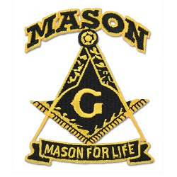 Mason For Life Square & Compass Embroidered Masonic Patch - [Black & Gold][3'' Tall]