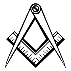 Clean Square & Compass Masonic Vinyl Decal