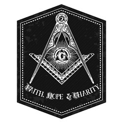 Faith Hope Charity Square & Compass Masonic Bumper Sticker - [5'' Tall]