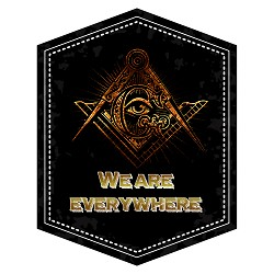 "We Are Everywhere Square & Compass Masonic Bumper Sticker - [5"" Tall]"