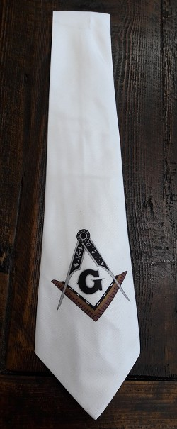 White Square & Compass Tie (design is crooked)