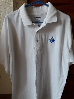 Large White Jersey Polo with Embroidered Blue Square & Compass