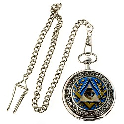 "All Seeing Eye Masonic Pocket Watch - [Silver & Blue][2"" Diameter]"