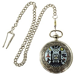 Working Tools Masonic Pocket Watch - [Silver & Blue][2'' Diameter]