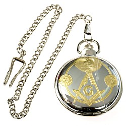 Square & Compass Sun & Moon Masonic Pocket Watch - [Silver & Gold][2'' Diameter]
