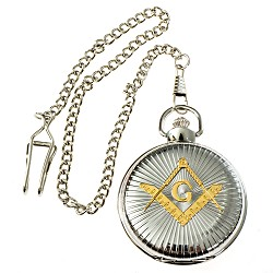 Shining Square & Compass Masonic Pocket Watch - [Silver & Gold][2'' Diameter]