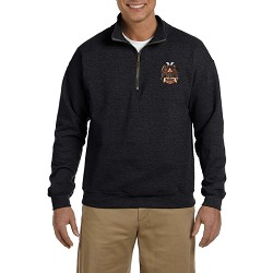 32nd Degree Double Headed Eagle Embroidered Men's Quarter-Zip Sweatshirt