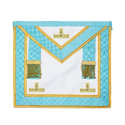 Light Blue Installed Master Masonic Apron with Gold Accents