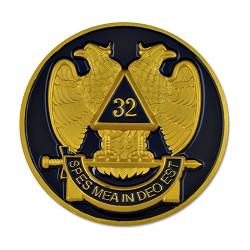 "32nd Degree Double Headed Eagle Scottish Rite Round Black & Gold Car Auto Emblem - 3"" Diameter"
