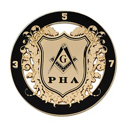 "Prince Hall (PHA) Round Black & Gold Car Auto Emblem - 3"" Diameter"