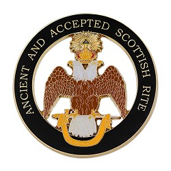 "33rd Degree Double Headed Eagle (Wings Down) Ancient & Accepted Scottish Rite Round Black Car Auto Emblem - 3"" Diameter"
