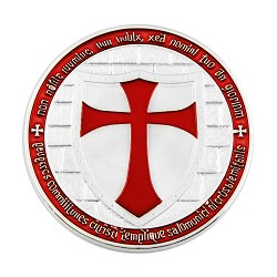 "Knights Templar Cross Red & Silver Coin with Plastic Protective Case - 1 1/2"" Diameter"