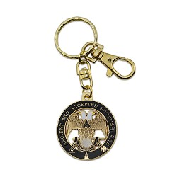 "32nd Degree Double Headed Eagle Scottish Rite Round Black & Gold Key Chain - 1 1/2"" Diameter"