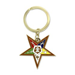 "Order of the Eastern Star Gold Key Chain - 1 1/2"" Tall"
