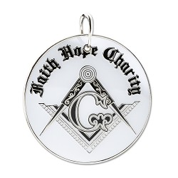 "Faith Hope Charity Square & Compass White & Black Holiday Ornament - 2 1/2"" Diameter"