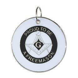 "Proud to be a Freemason White & Black Holiday Ornament - 2 1/2"" Diameter"