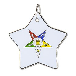 "Order of the Eastern Star White & Silver Star Holiday Ornament - 2 1/2"" Tall"