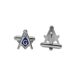 "Square & Compass Silver & Blue Cufflink Set - 5/8"" Tall"
