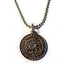 "Knights Templar Seal Crusaders Solomon's Temple Antique Gold Pendant Necklace - 7/8"" Diameter"