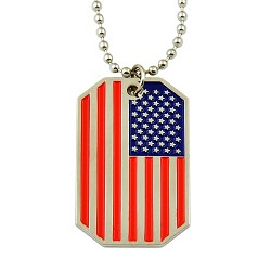 "American Flag USA Patriot Freedom Stars & Stripes Dog Tag Red White & Blue Pendant Necklace - 1 1/2"" Tall"