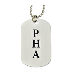 "Engraved PHA (Prince Hall) Square & Compass Silver Dog Tag Pendant Necklace - 2"" Tall"