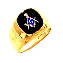 Gold Plated Blue Lodge Ring MASCJ329
