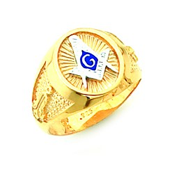 Gold Plated Blue Lodge Ring MASCJ61354