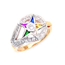 Sterling Silver or Gold Vermeil Order of the Eastern Star Ring MASCJ262ES