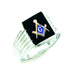 Sterling Silver Blue Lodge Ring MASCJ60339